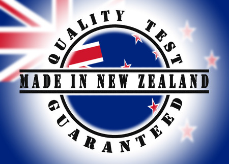 new zealand word: Quality test guaranteed stamp with a national flag inside, New Zealand