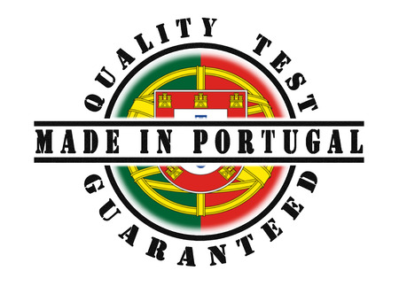 portugese: Quality test guaranteed stamp with a national flag inside, Portugal