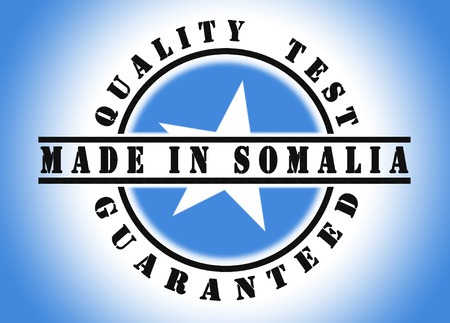 somalian: Quality test guaranteed stamp with a national flag inside, Somalia