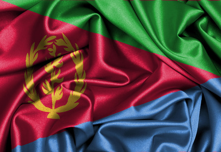 eritrea: Satin flag, three dimensional render, flag of Eritrea Stock Photo
