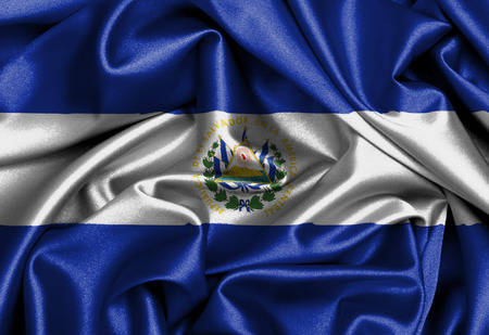 Satin flag, three dimensional render, flag of El Salvador photo