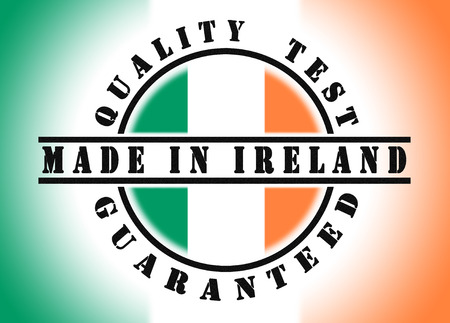 eire: Quality test guaranteed stamp with a national flag inside, Ireland Stock Photo