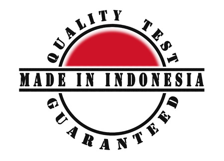 Quality test guaranteed stamp with a national flag inside, Made in Indonesia photo