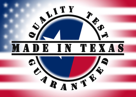 Quality test guaranteed stamp with a state flag inside, Made in Texas photo