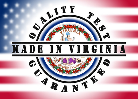 Quality test guaranteed stamp with a state flag inside, Made in Virginia photo