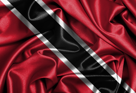 tobago: Satin flag, three dimensional render, flag of Trinidad and Tobago Stock Photo