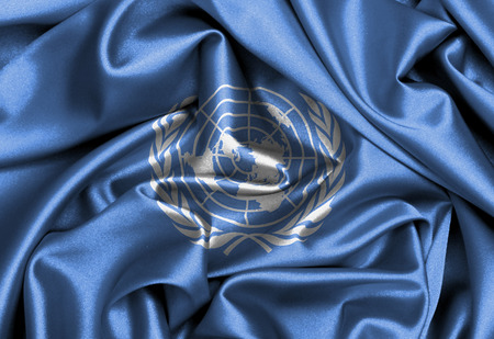 united nations: Satin flag, three dimensional render, flag of the United Nations