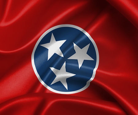 Satin flag, three dimensional render, flag of Tennessee photo