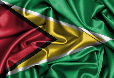 Satin flag, three dimensional render, flag of Guyana photo