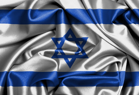 Satin flag, three dimensional render, flag of Israel photo