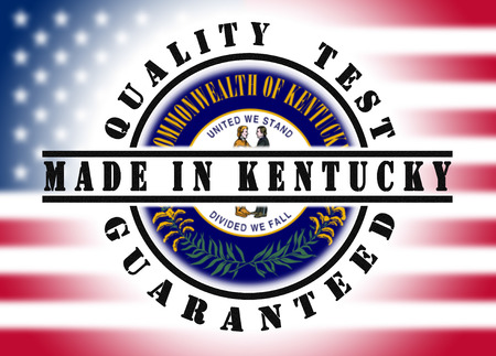 Quality test guaranteed stamp with a state flag inside, Kentucky photo