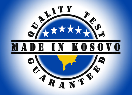 kosovo: Quality test guaranteed stamp with a national flag inside, Kosovo
