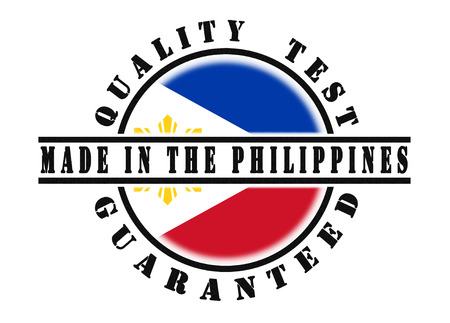 Quality test guaranteed stamp with a national flag inside, Philippines Stock Photo
