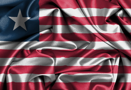 Satin flag, three dimensional render, flag of Liberia photo