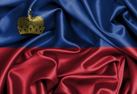 liechtenstein: Satin flag, three dimensional render, flag of Liechtenstein Stock Photo