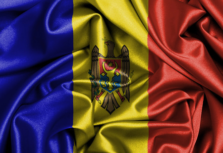 Satin flag, three dimensional render, flag of Moldova photo