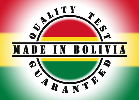 Quality test guaranteed stamp with a national flag inside, Bolivia photo