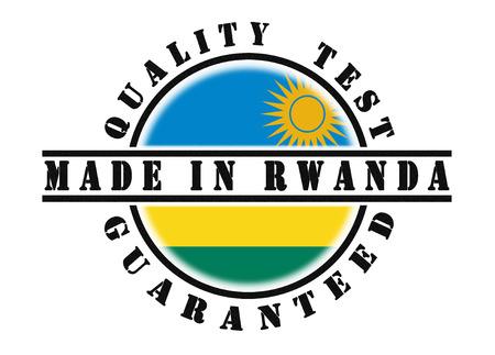 rwanda: Quality test guaranteed stamp with a national flag inside, Rwanda