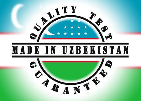 qualify: Quality test guaranteed stamp with a national flag inside, Uzbekistan Stock Photo
