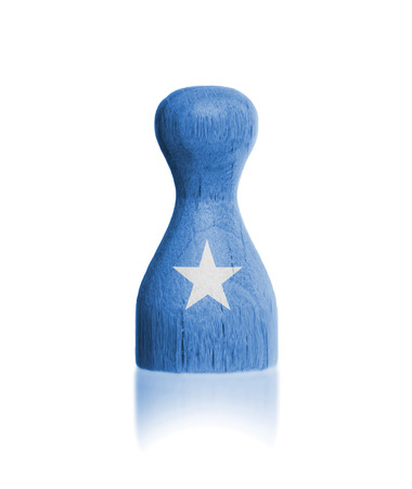 Wooden pawn with a painting of a flag, Somalia
