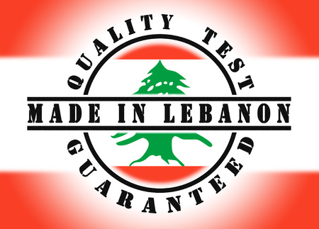 Quality test guaranteed stamp with a national flag inside, Lebanon photo