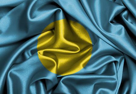 Satin flag, three dimensional render, flag of Palau photo