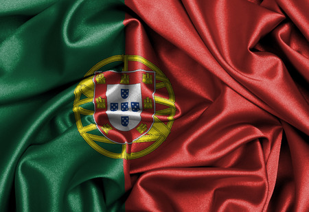 portugese: Satin flag, three dimensional render, flag of Portugal