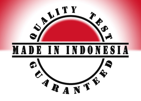 Quality test guaranteed stamp with a national flag inside, Indonesia photo
