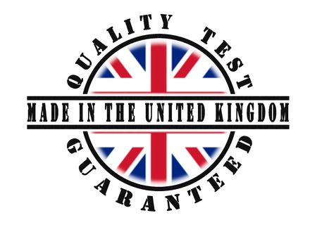 Quality test guaranteed stamp with a national flag inside, United Kingdom