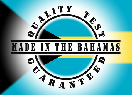Quality test guaranteed stamp with a national flag inside, Bahamas