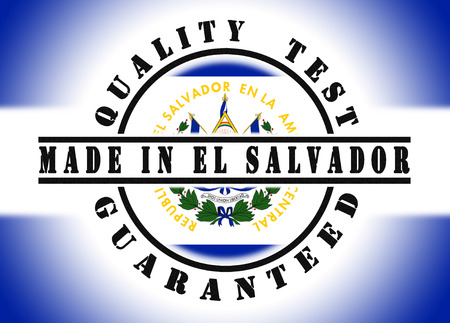 Quality test guaranteed stamp with a national flag inside, El Salvador photo