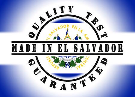 el salvador flag: Quality test guaranteed stamp with a national flag inside, El Salvador
