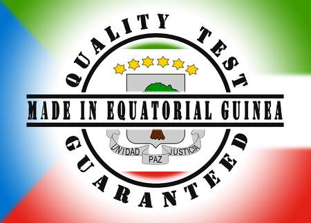 equatorial: Quality test guaranteed stamp with a national flag inside, Equatorial Guinea