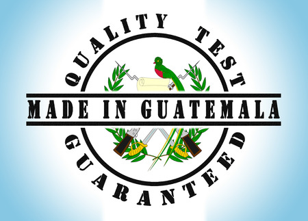Quality test guaranteed stamp with a national flag inside, Guatemala photo
