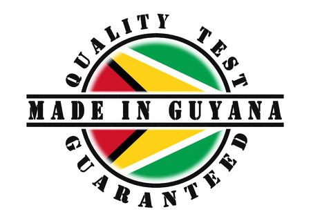 Quality test guaranteed stamp with a national flag inside, Guyana photo