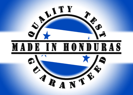 Quality test guaranteed stamp with a national flag inside, Honduras photo
