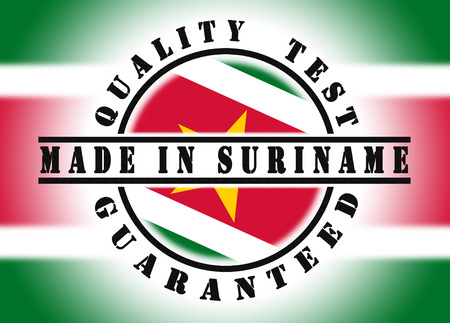 suriname: Quality test guaranteed stamp with a national flag inside, Suriname