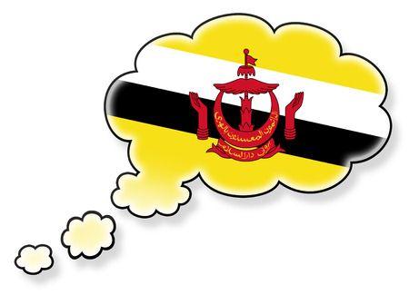 Flag in the cloud, isolated on white background, flag of Brunei