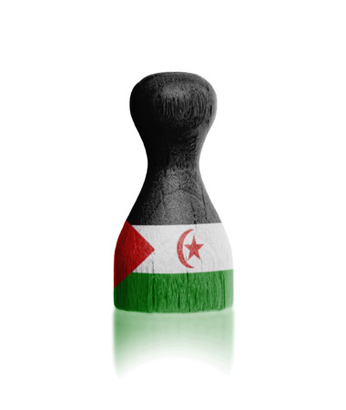 boardgames: Wooden pawn with a painting of a flag, Western Sahara