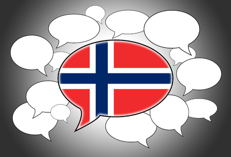 spoken: Speech bubbles concept - spoken language is Norwegian Stock Photo