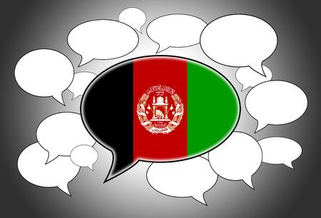 afghan: Speech bubbles concept - spoken language is Afghan Stock Photo