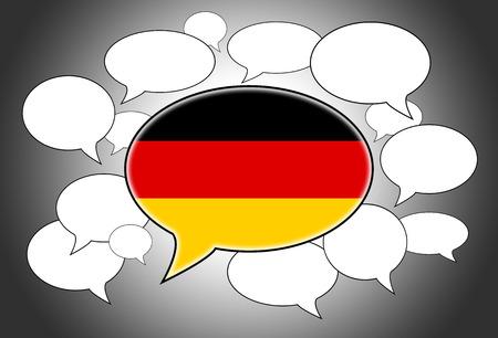 spoken: Speech bubbles concept - spoken language is German