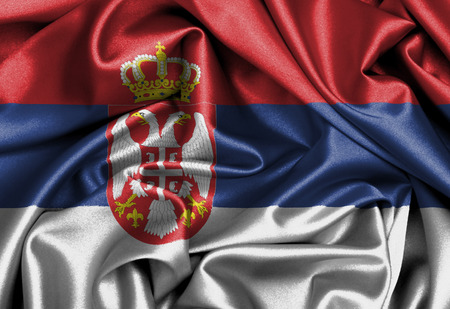 Satin flag, three dimensional render, flag of Serbia photo