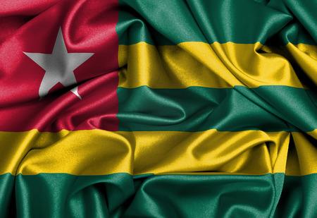 togo: Satin flag, three dimensional render, flag of Togo Stock Photo