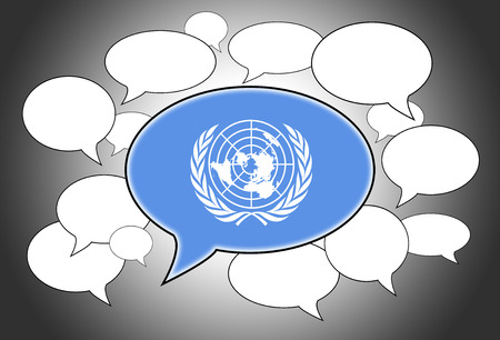 united nations: Communication concept - Speech cloud, the voice of United Nations Stock Photo