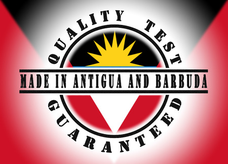 Quality test guaranteed stamp with a national flag inside, Antigua and Barbuda photo