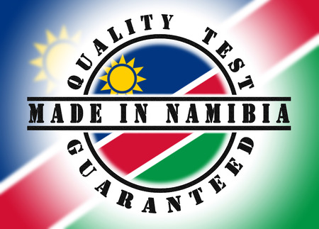 Quality test guaranteed stamp with a national flag inside, Namibia photo