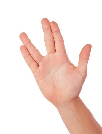 Salutation Vulcan, femme la main, isolé sur blanc Banque d'images