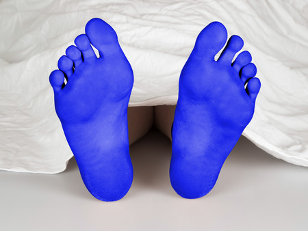 coroner: Body under a white sheet, suicide, sleeping, murder or natural death, blue feet