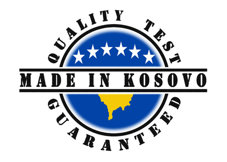 kosovo: Quality test guaranteed stamp with a Kosovo national flag